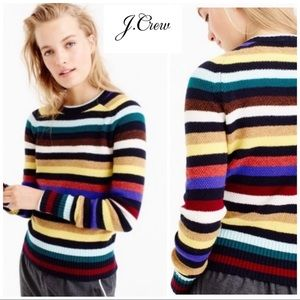 J Crew Striped Multi Color Wool Sweater